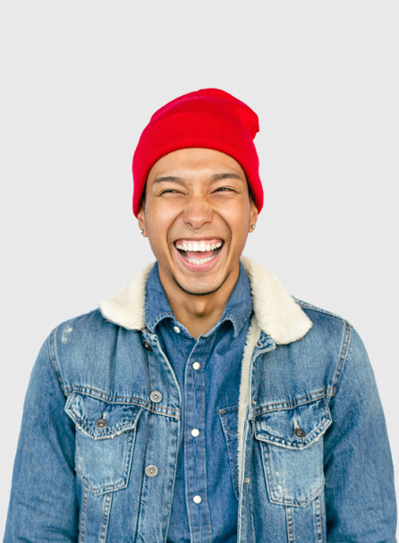 Portrait of a young man laughing