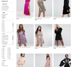 ASOS screenshot of filters