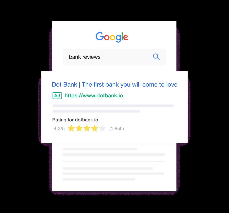 Trustpilot ranking on Google search
