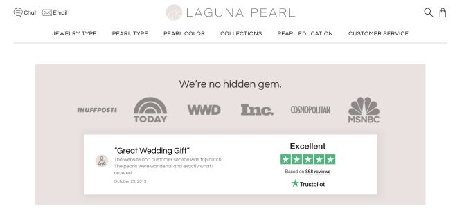 Laguna Pearl TrustScore on Homepage