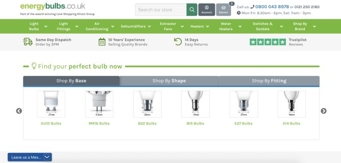 Energybulbs.co.uk online experience