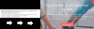 Messaggio coerente, prova gratuita, ClassPass