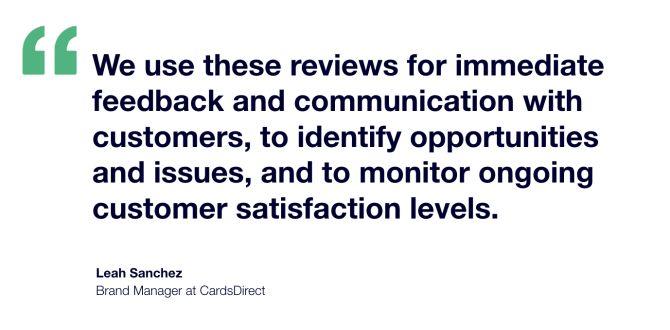 CardsDirect Trustpilot Testimonial - Leah Sanchez Brand Manager
