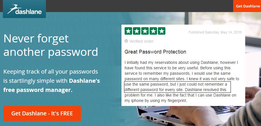 Dashlane, landing page, recensioni