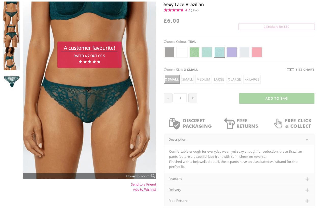 ann summers social proof product page