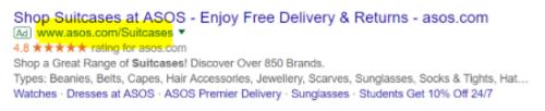 Beispiel: kurze, relevante Anzeigen-URL