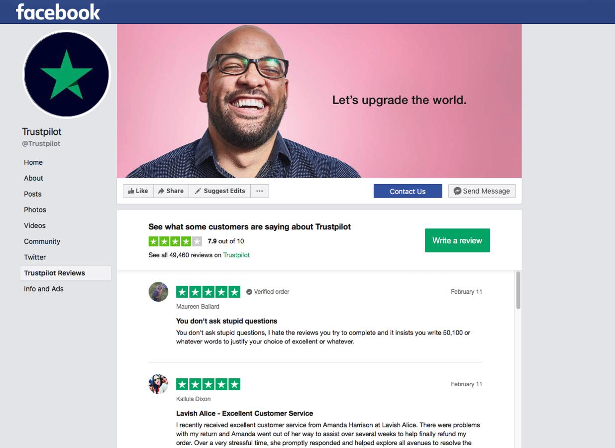 7accdab08a9e Trustpilots Facebook-app deler automatisk anmeldelser på din virksomheds  Facebook-side. Før dine anmeldelser skridtet videre