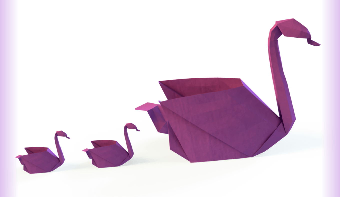 3 purple origami swans -mobile