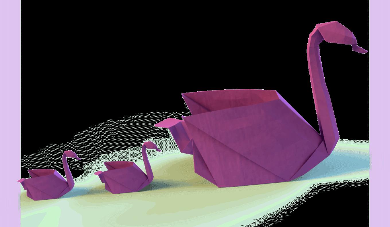 3 purple origami swans -mobile