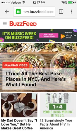 Mobiele site Buzzfeed