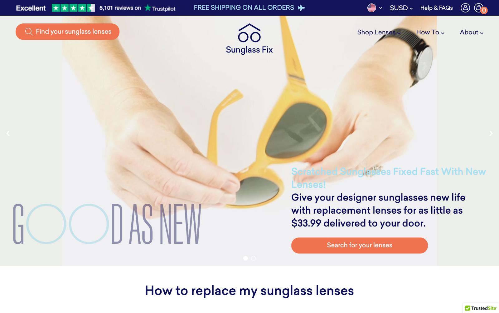Sunglass fix homepage 1