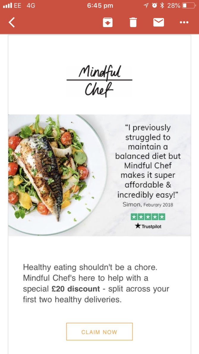 Mindful chef Marketing Email