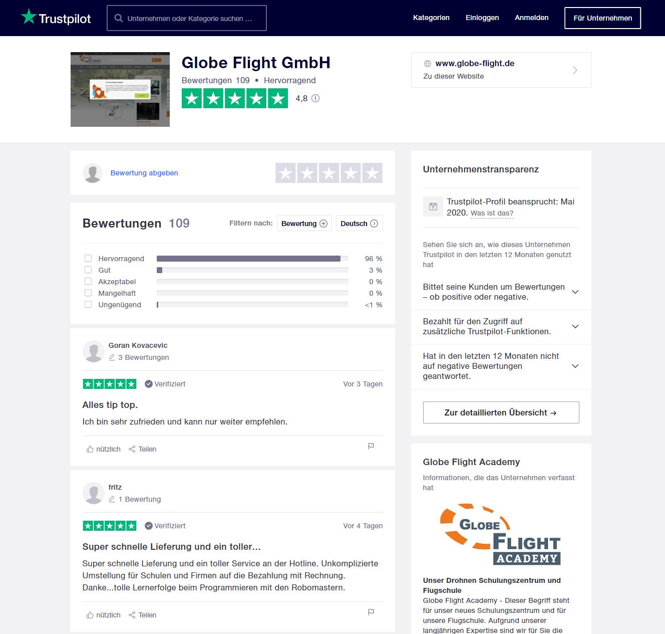 Trustpilot-Profil der Globe Flight GmbH