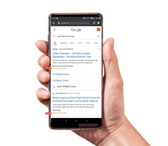 Vertrauensbildende Trustpilot-Sterne in der mobilen Suche