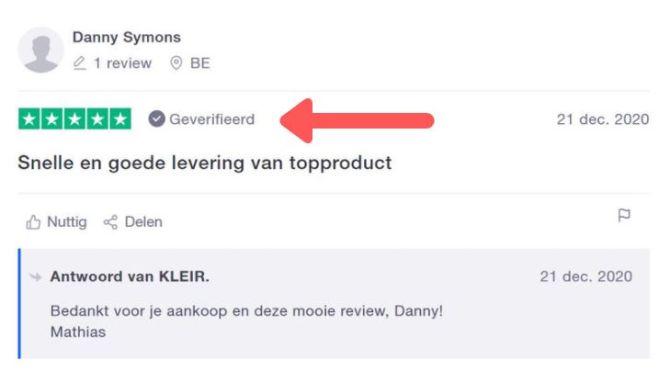 Geverifieerde reviews krijgen op ons platform automatisch het label 'Geverifieerd'.