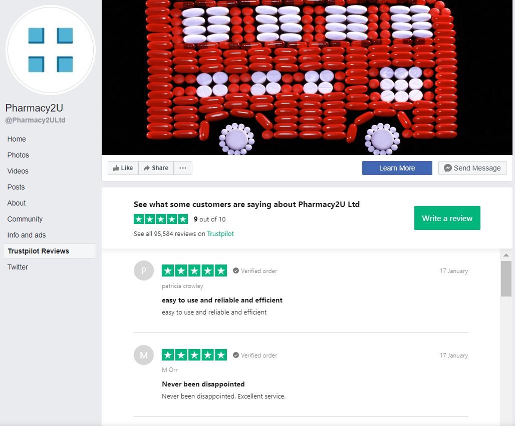 Pharmacy2U Trustpilot reviews Facebook integration