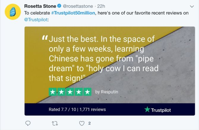 rosetta stone social post trustpilot review