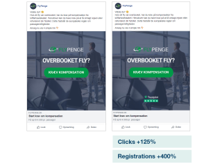 Flypenge.dk uses social proof to boost ads performance