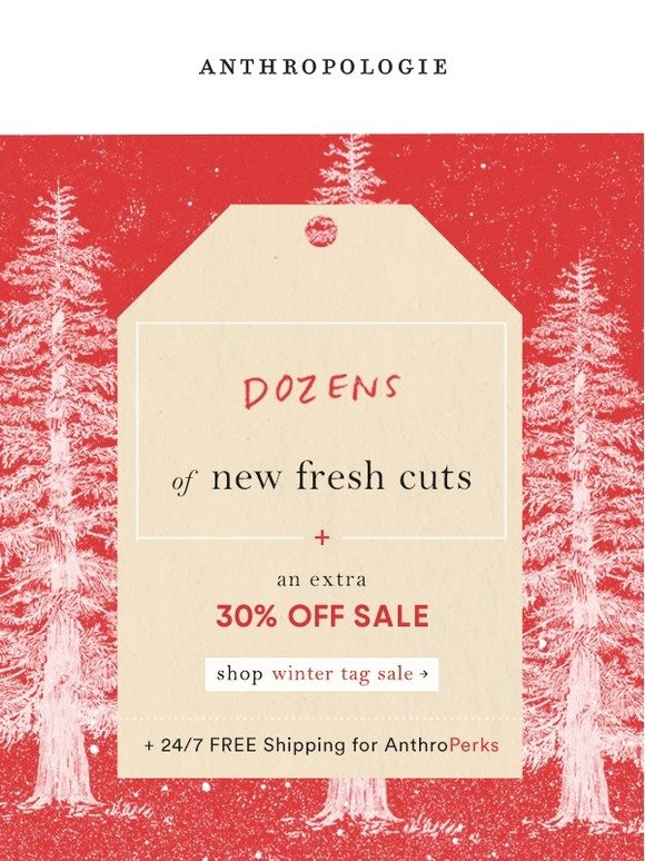 Seasonal email (sale) from anthropologie
