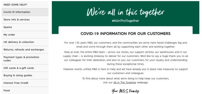 M&S COVID-19 FAQ