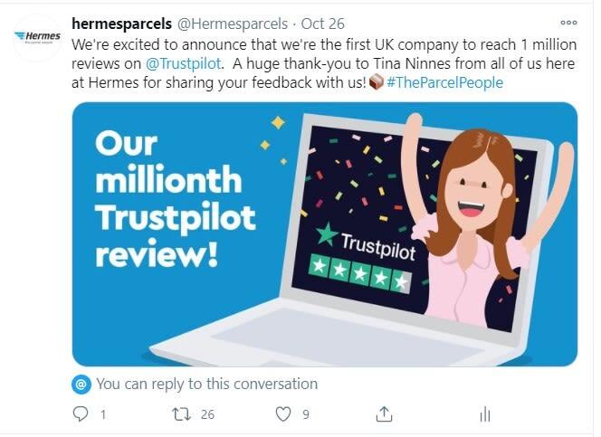 Hermes social media Trustpilot