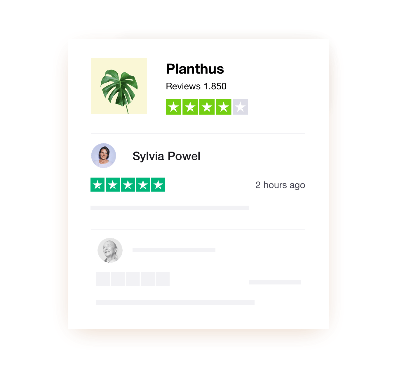 A review of Planthus showing Trustpilot reviews
