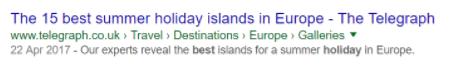 Beispiel: prägnantes Überschriften-Tag in organischen Suchergebnissen