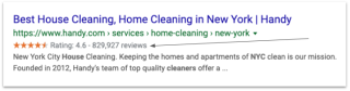 Example of Rich Snippet stars in organic search results