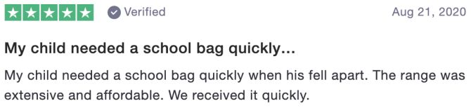My child needed a school bag quickly