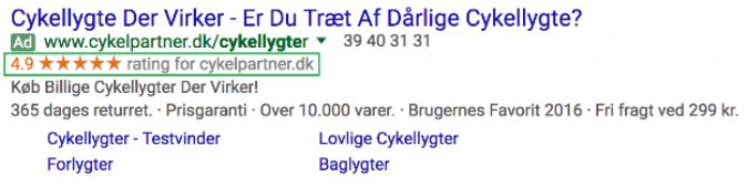 Pay-per-Click-Anzeige von Cykelpartner mit Verkäuferbewertung von Google