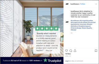 Luxaflex Uses Social Proof on Organic Social