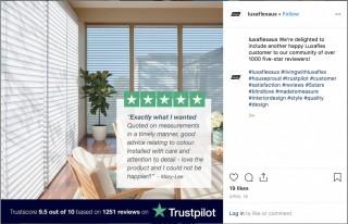 Luxaflex Uses Social Proof on Organic Social