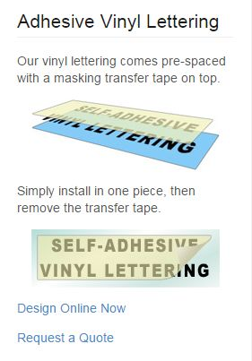 Adhesive Vinyl Lettering