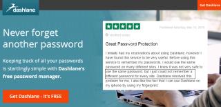 Dashlane customer testimonials on landing page