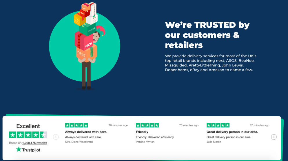 Hermes Trustpilot reviews example