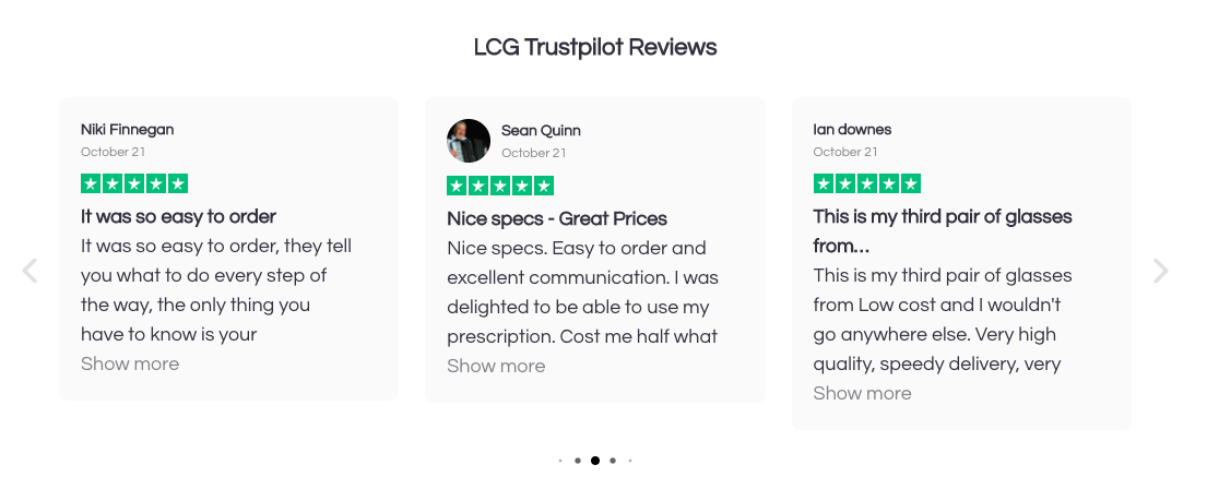 LCG reviews homepage