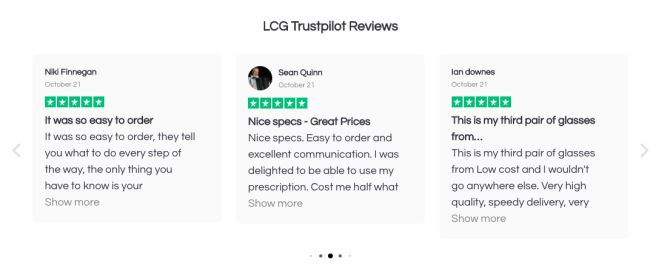 LCG reviews homepage