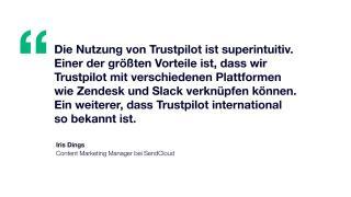 Zitat: Die Nutzung von Trustpilot ist superintuitiv. Einer der größten Vorteile ist, dass wir Trustpilot mit verschiedenen Plattformen wie Zendesk und Slack verknüpfen können. Ein weiterer, dass Trustpilot international so bekannt ist.