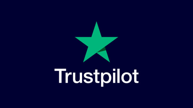 Trustpilot logo on primary blue background
