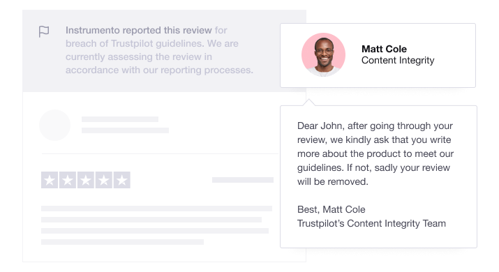 Trustpilot's reported review response