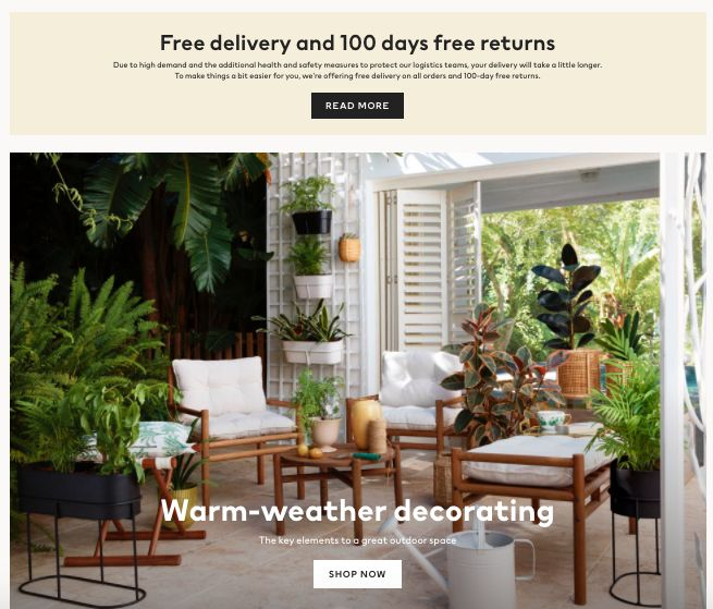 H&M free delivery and free returns covid-19