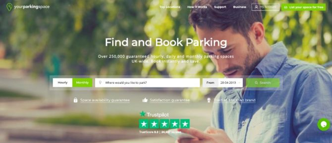 homepage reviews yourparking space trustpilot