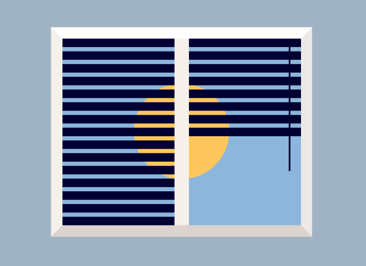Illustration of window with blinders and sun