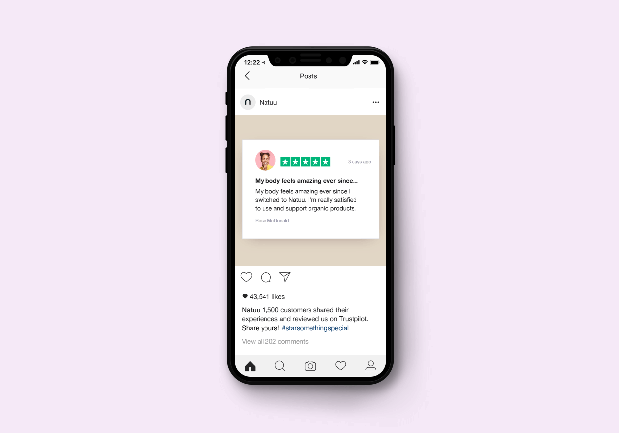 Trustpilot retargeting ad on Instagram - mobile