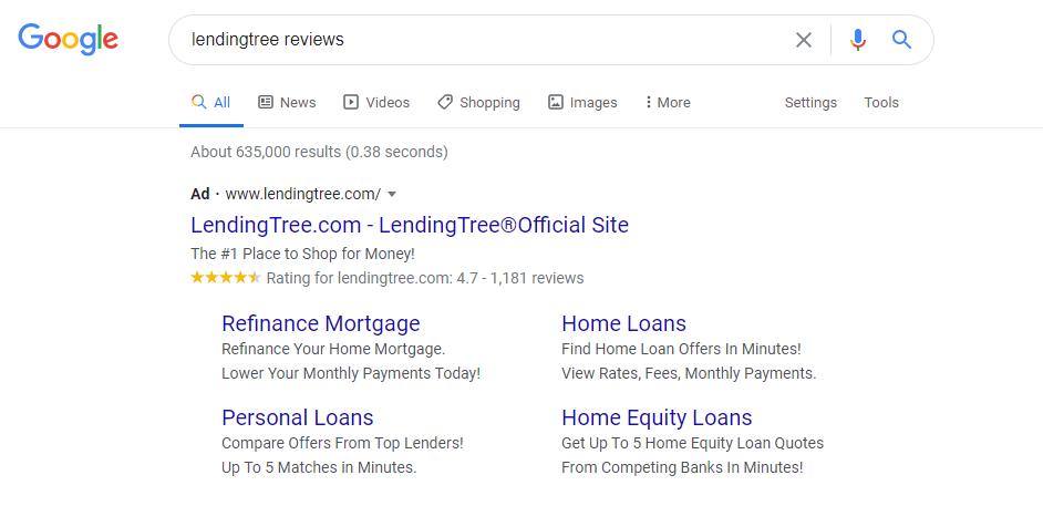 LendingTree earned Google Seller Ratings with Trustpilot