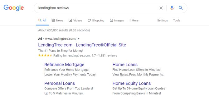 LendingTree earned Google Seller Ratings with Trustpilot