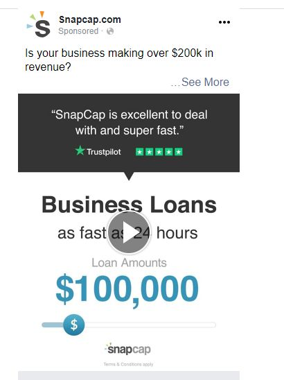 SnapCap by LendingTree uses Trustpilot social proof in Facebook ads