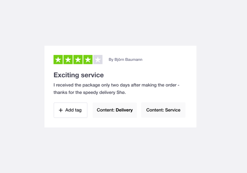 Trustpilot Review Tagging feature