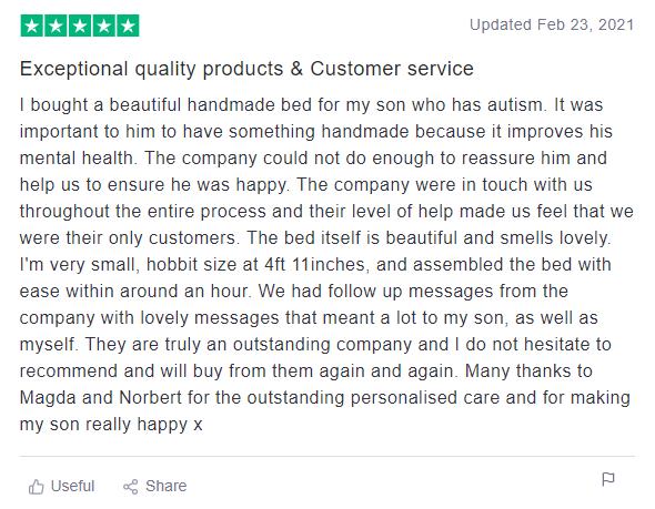 Handmade bed customer review