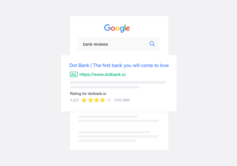 Illustration of a company ranking in a Google search with Trustpilot customer reviews